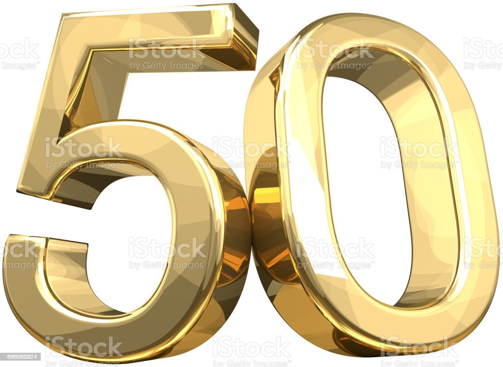 50 golden number isolated 3d rendering - foto stock