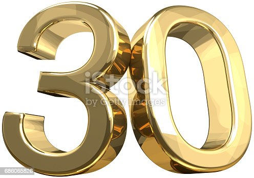istock 30 golden number isolated 3d rendering 686065826