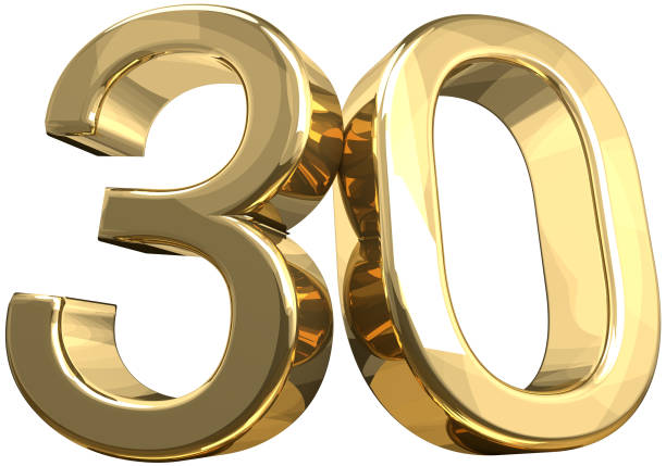 30 golden number isolated 3d rendering - number 30 stock photos and pictures