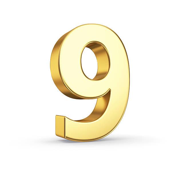 Golden number nine on white stock photo