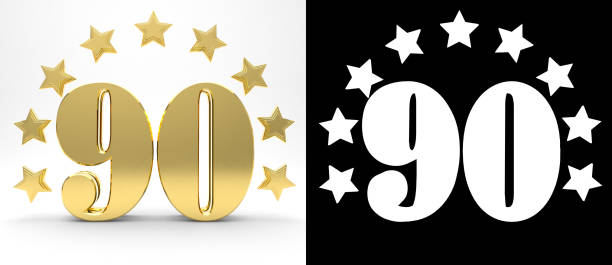golden number ninety on white background with drop shadow and alpha channel , decorated with a circle of stars. 3d illustration - number 90 stock photos and pictures