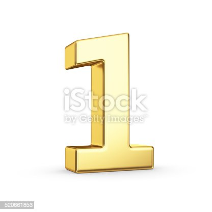 istock Golden number one on white 520661853