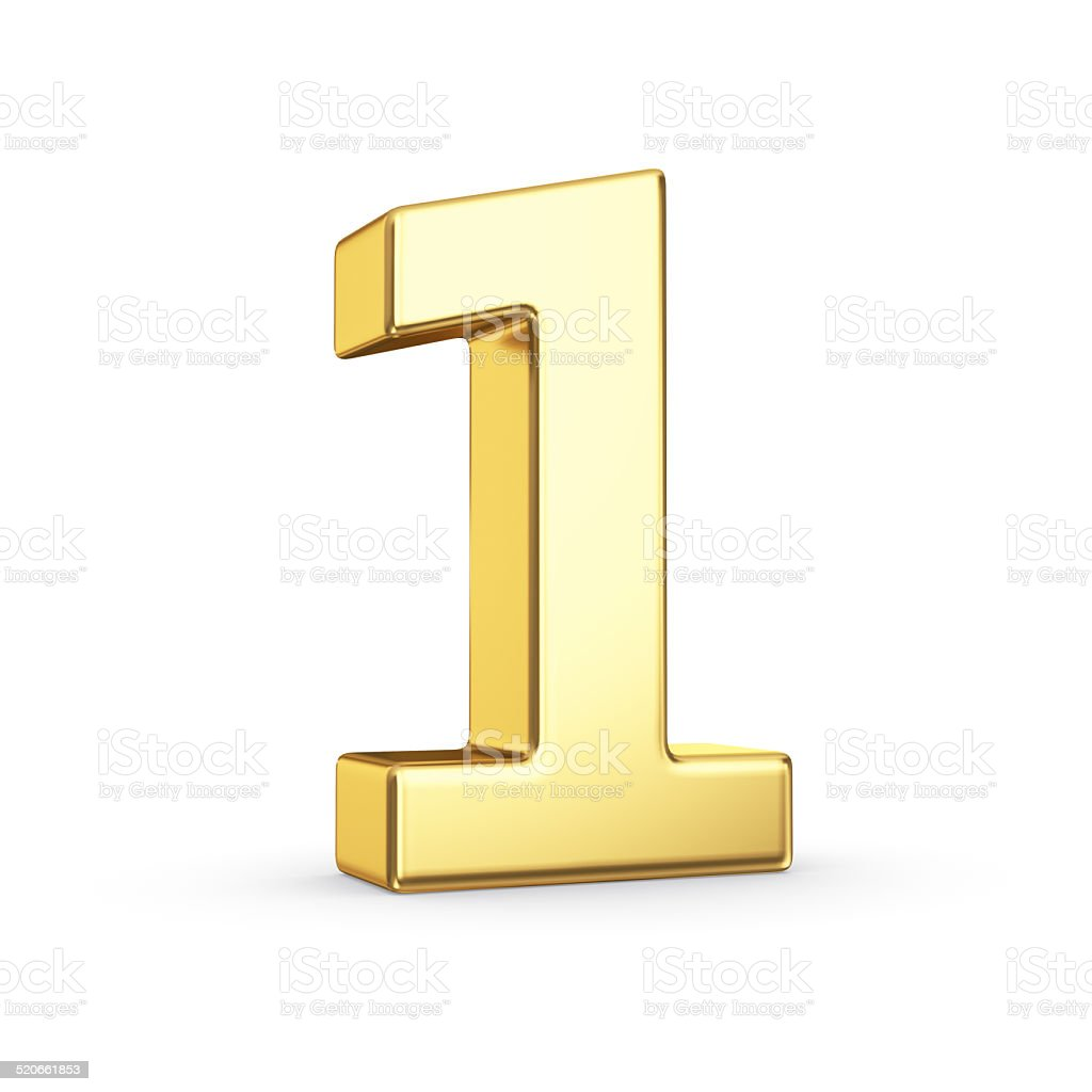 Golden number one on white stock photo
