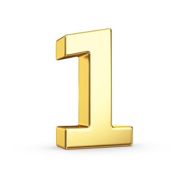 golden number one on white - single object stock pictures, royalty-free photos & images