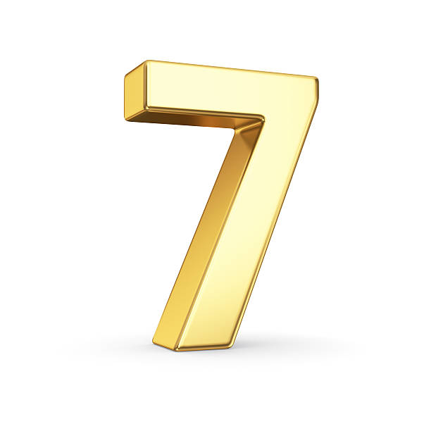 Golden number seven on white 3D golden number 7 - isolated with clipping path number 7 stock pictures, royalty-free photos & images