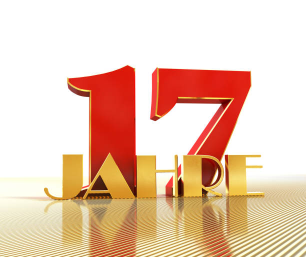 Golden number seventeen (number 17) and the word