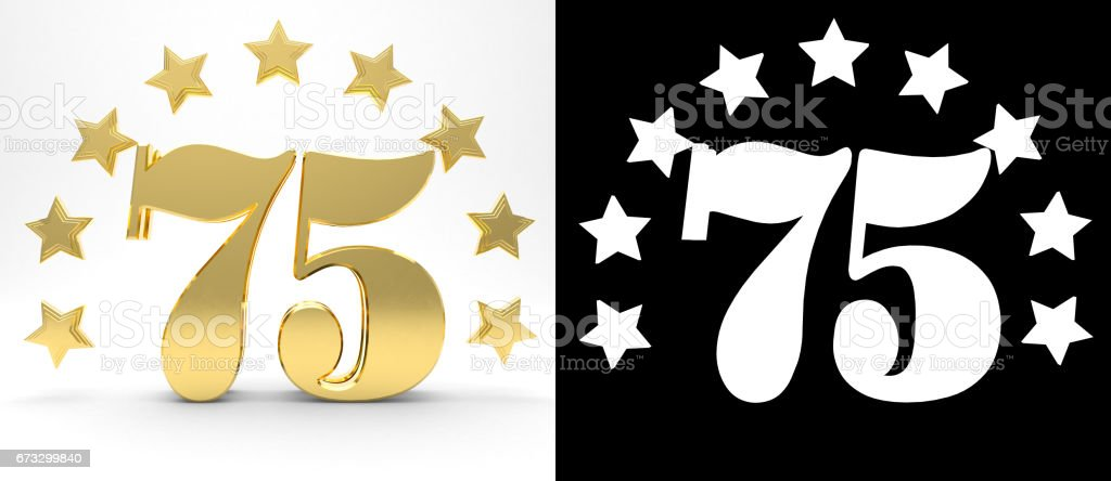 Golden number seventy five on white background with drop shadow and alpha channel , decorated with a circle of stars. 3D illustration stock photo