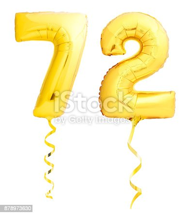 927069242 istock photo Golden number seventy two 72 made of inflatable balloon with ribbon on white 878973630