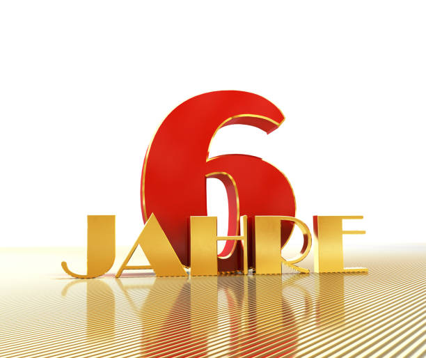 Golden number six (number 6) and the word