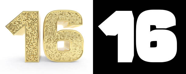 golden number sixteen (number 16) on white background with drop shadow and alpha channel. 3d illustration - number 16 stock photos and pictures