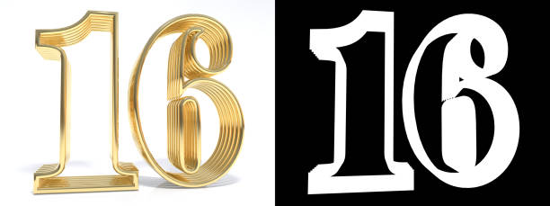 golden number sixteen on white background with drop shadow and alpha channel. 3d illustration - number 16 stock photos and pictures