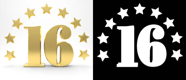 golden number sixteen on white background with drop shadow and alpha channel , decorated with a circle of stars. 3d illustration - number 16 stock photos and pictures