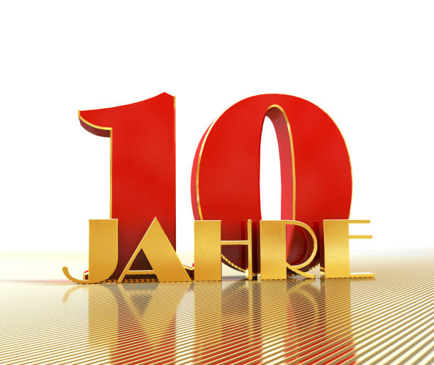 Golden number ten (number 10) and the word