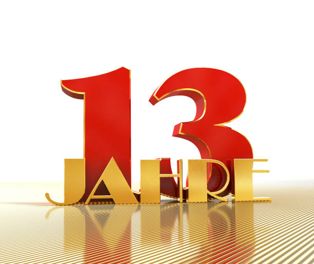 Golden number thirteen (number 13) and the word