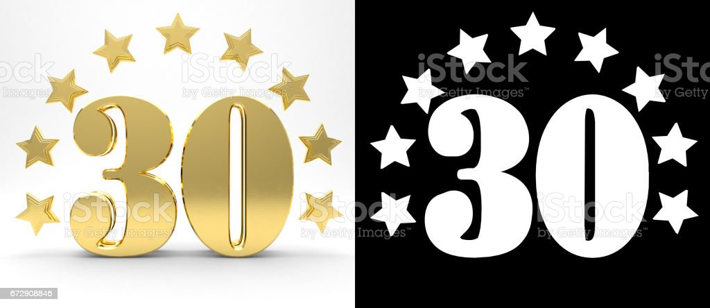 Número treinta de oro sobre fondo blanco con sombra y canal alfa, decorado con un círculo de estrellas. Ilustración 3D - foto de stock