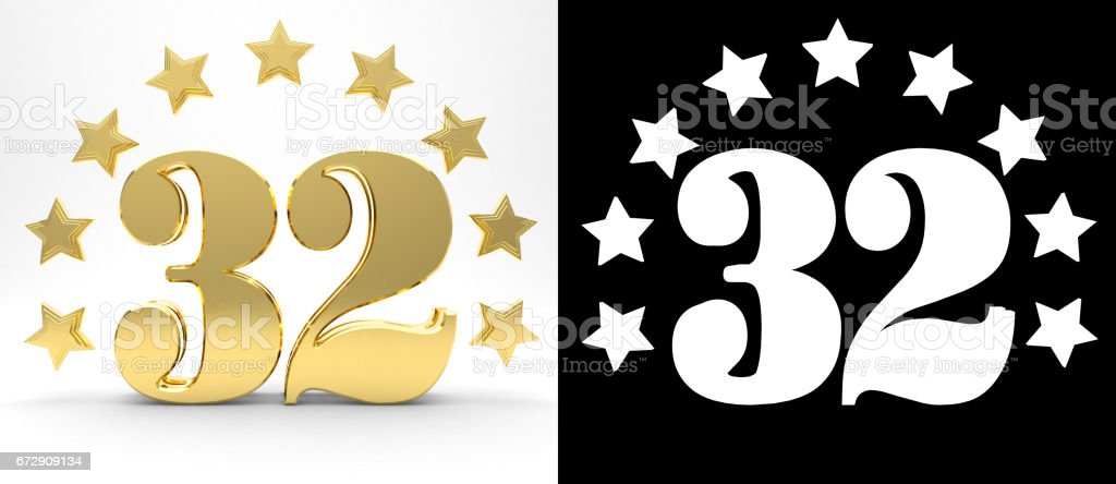 Golden number thirty two on white background with drop shadow and alpha channel , decorated with a circle of stars. 3D illustration stock photo