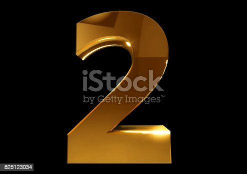 istock Golden number tow on a black isolated background. Number 2. Numbers 825123034