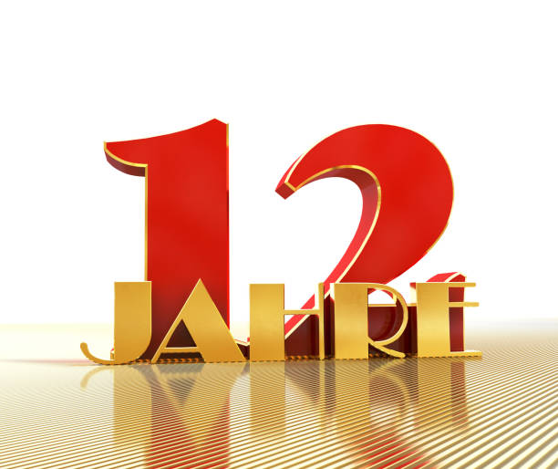 Golden number twelve (number 12) and the word