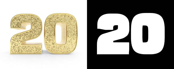 golden number twenty (number 20) on white background with drop shadow and alpha channel. 3d illustration - number 20 stock photos and pictures