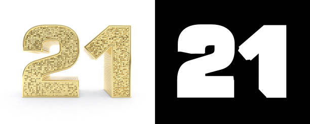 golden number twenty one (number 21) on white background with drop shadow and alpha channel. 3d illustration - number 21 stock photos and pictures