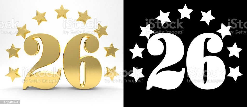 Golden number twenty six on white background with drop shadow and alpha channel , decorated with a circle of stars. 3D illustration stock photo