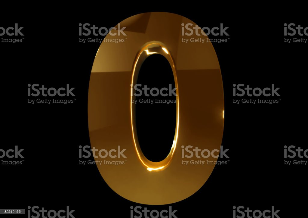 Golden number zero on a black isolated background. Number 0. Numbers stock photo