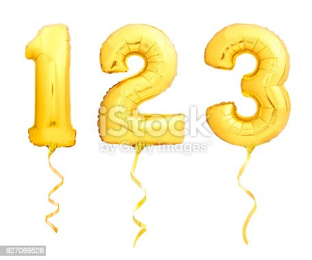 927069242istockphoto Golden numbers 1, 2, 3 made of inflatable balloons with ribbons isolated on white 927069526
