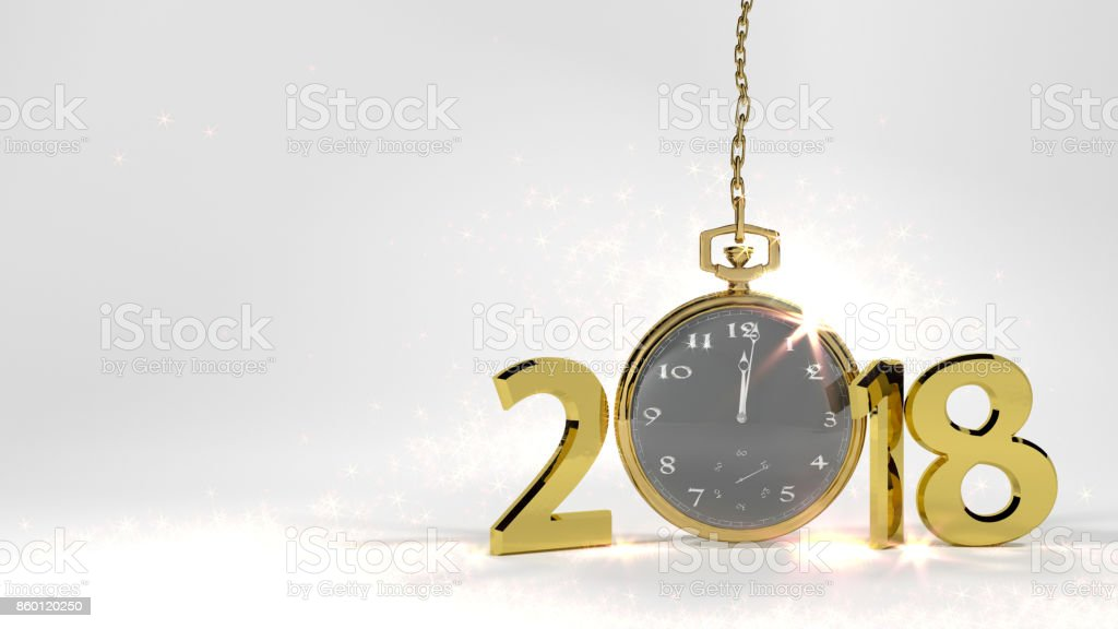 Golden numbers and gold watch3D rendering white background stock photo