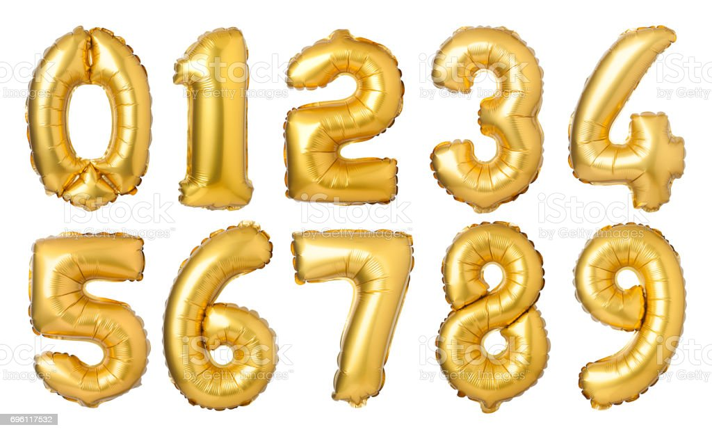 golden numbers balloons stock photo