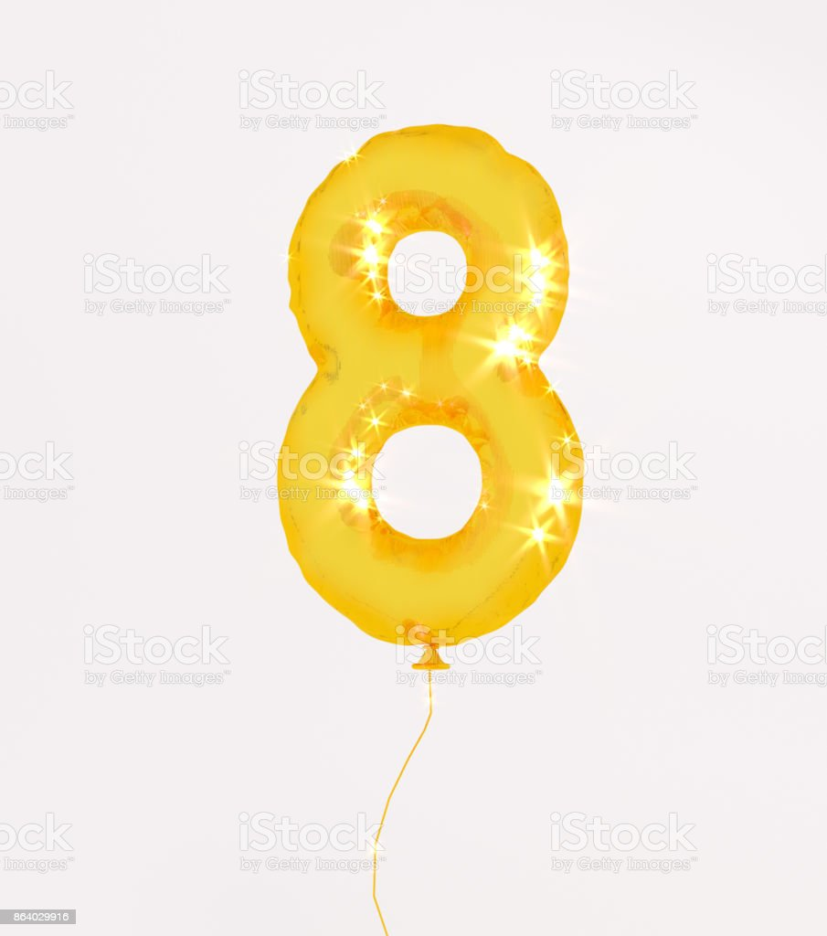 Golden numbers eight 3d illustration yellow gold numbers balloon style stock photo