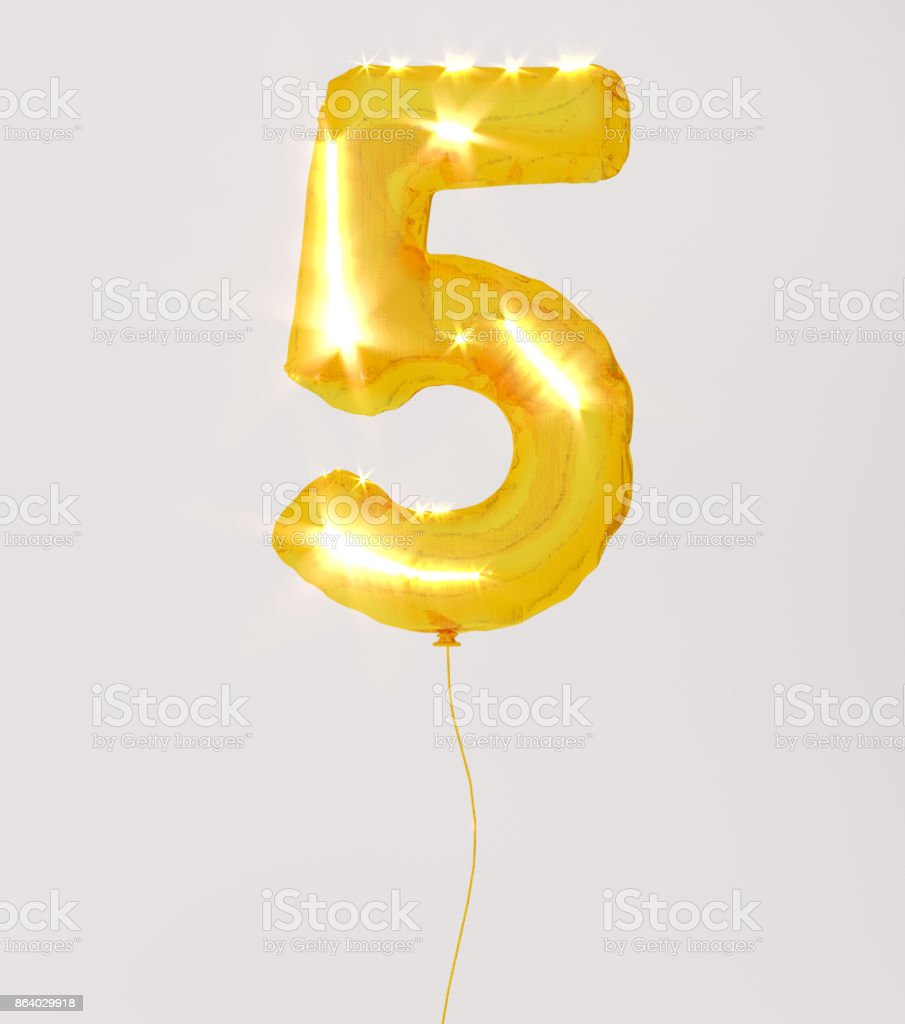 Golden numbers five 3d illustration yellow gold numbers balloon style stock photo