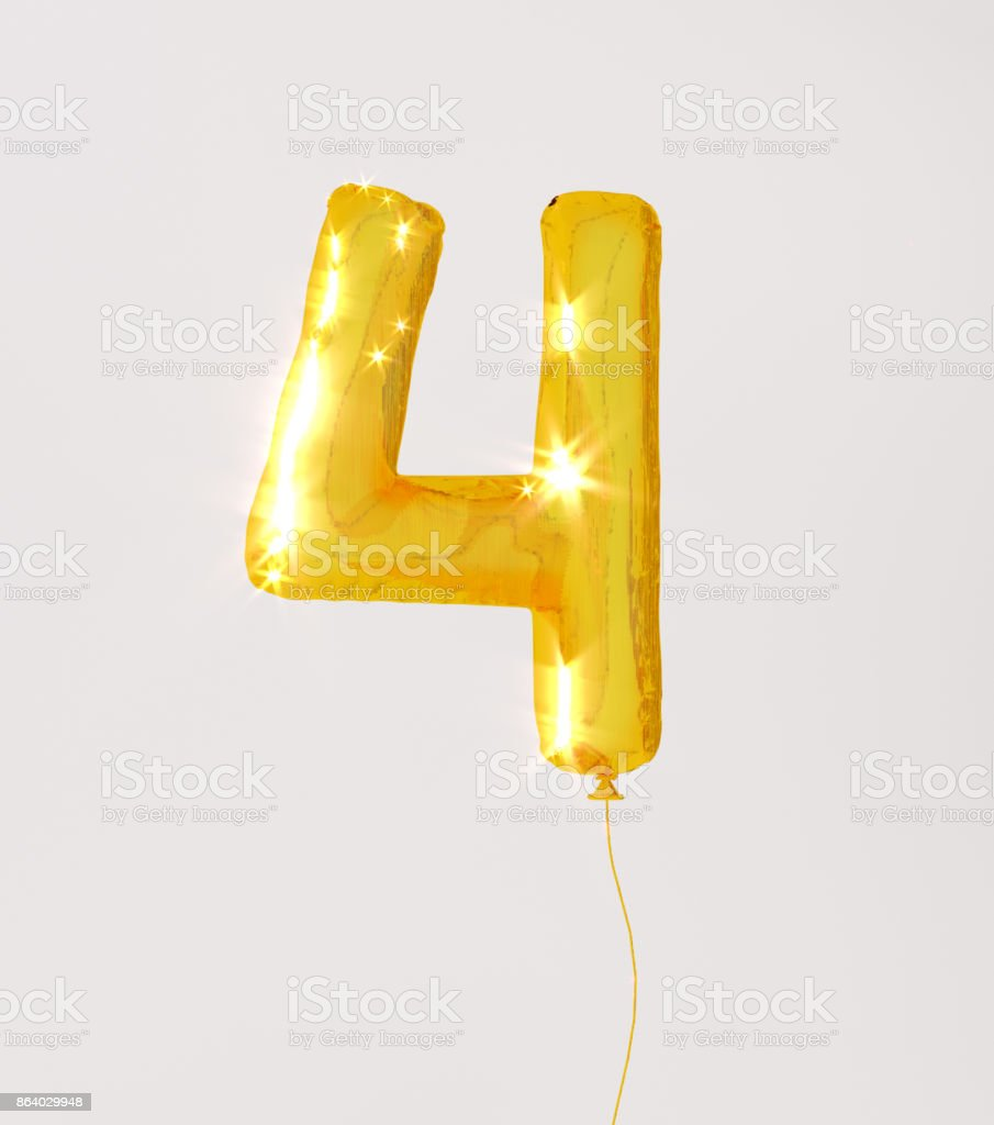 Golden numbers four 3d illustration yellow gold numbers balloon style stock photo