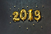 2019, Golden Numbers, Inflatable, New Year, Stone, Background, W