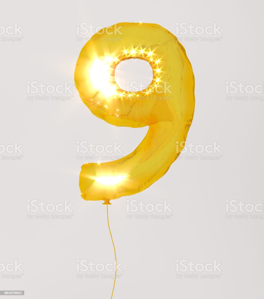 Golden numbers nine 3d illustration yellow gold numbers balloon style stock photo