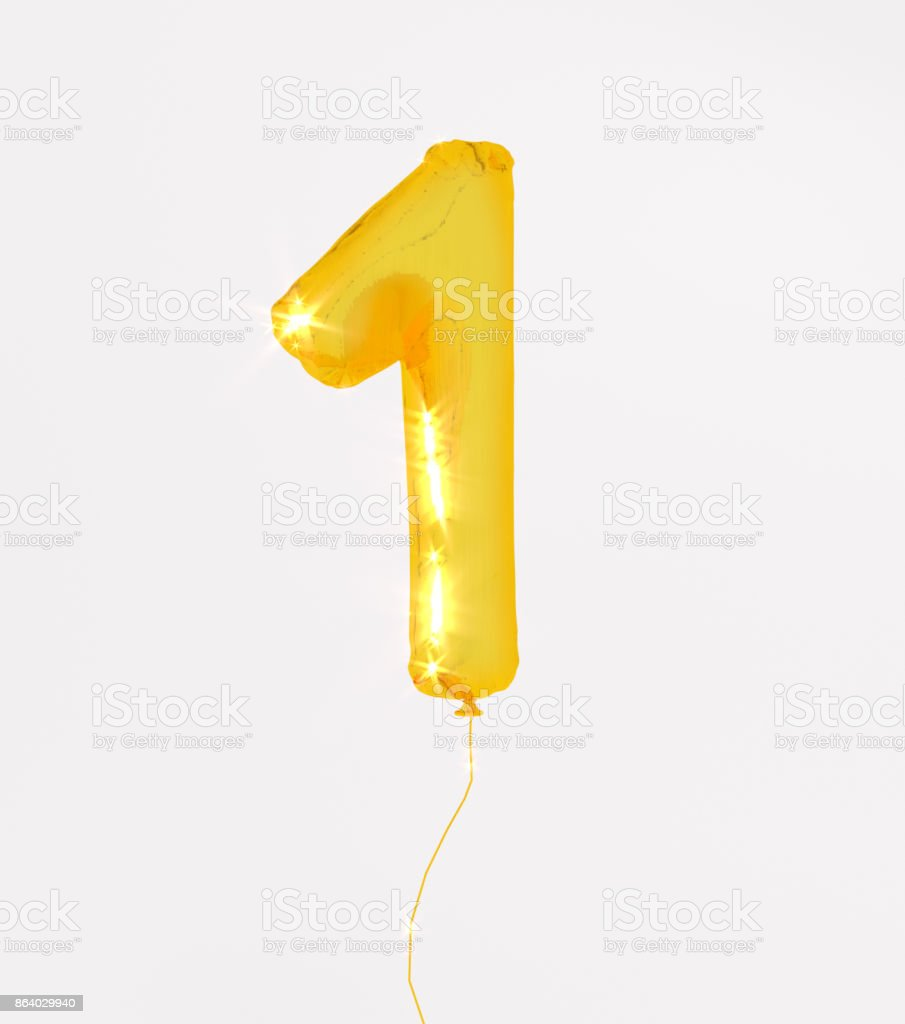 Golden numbers one 3d illustration yellow gold numbers balloon style stock photo