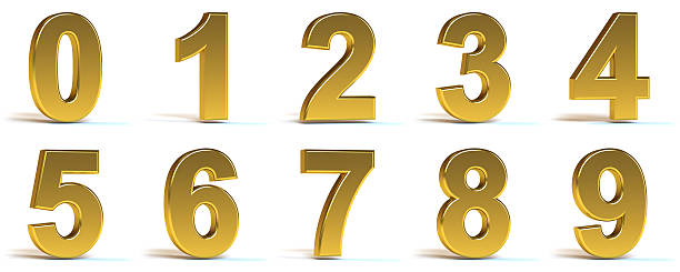 golden numbers - number stock photos and pictures