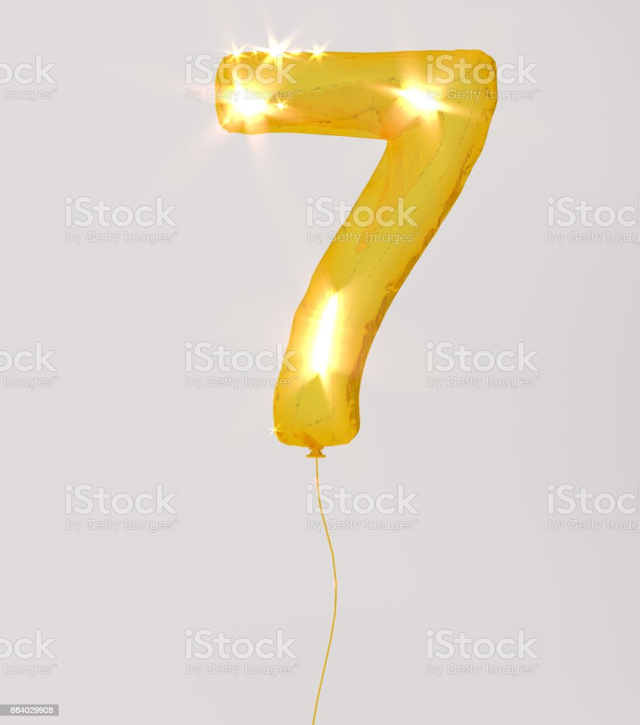 Golden numbers seven 3d illustration yellow gold numbers balloon style stock photo