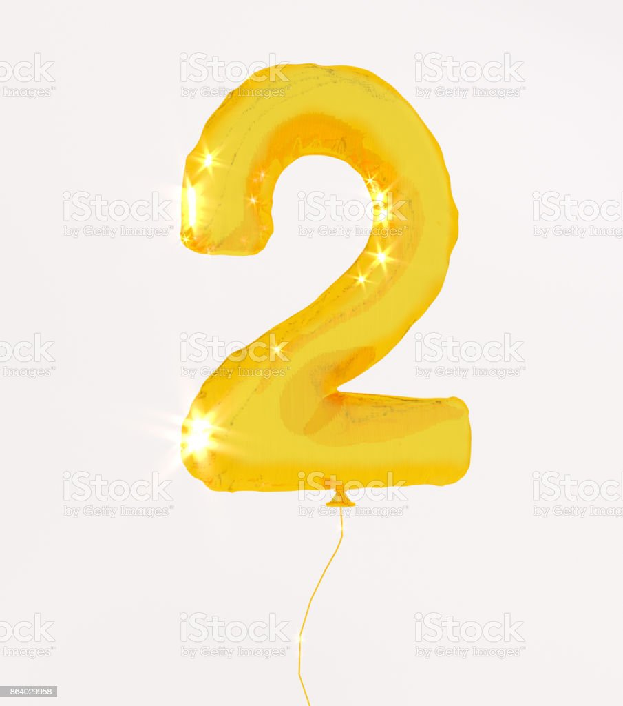 Golden numbers two3d illustration yellow gold numbers balloon style stock photo
