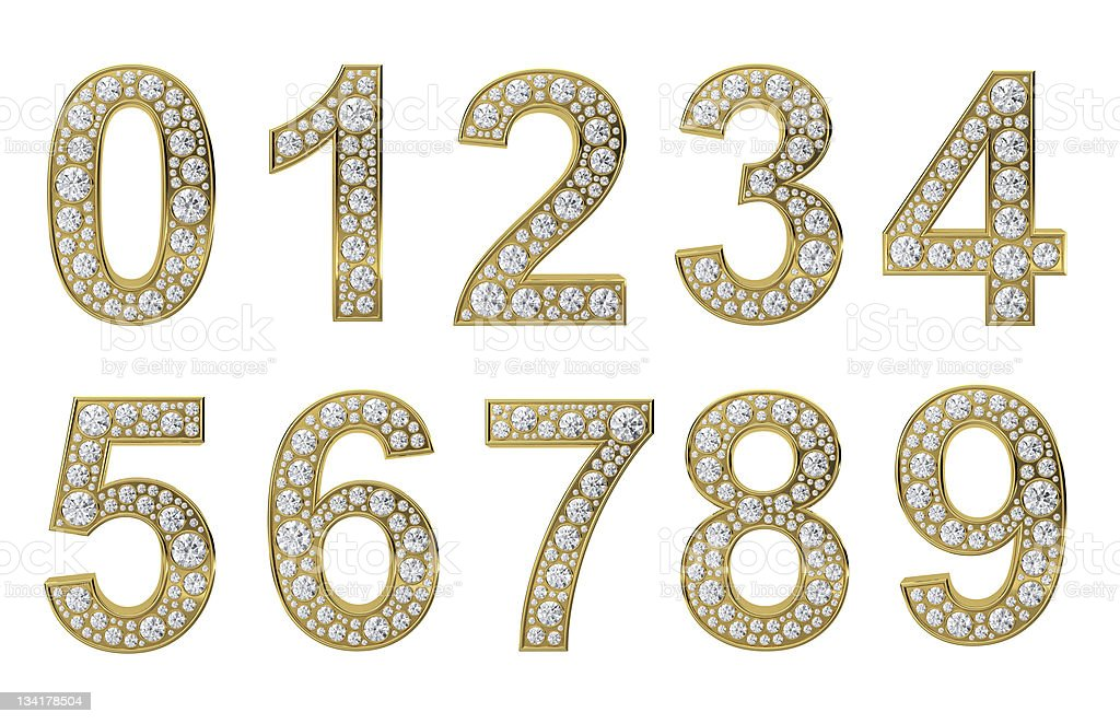 Golden numbers with white diamonds stock photo