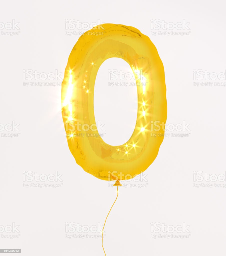 Golden numbers zero 3d illustration yellow gold numbers balloon style stock photo