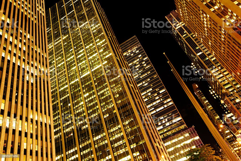 Golden NYC Manhattan Midtown Skyscrapers royalty-free stock photo
