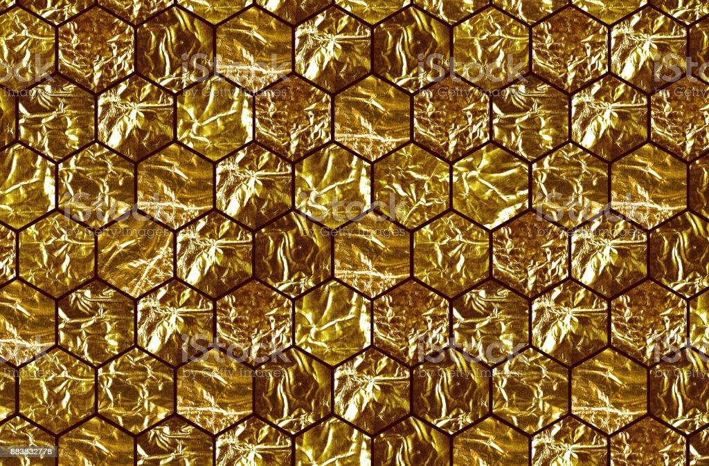Goldenen Achteck Fliesen Mit Schwarzen Fugen Stockfoto Und Mehr