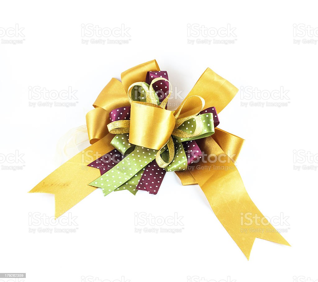 golden or yellow ribbon bow royalty-free stock photo