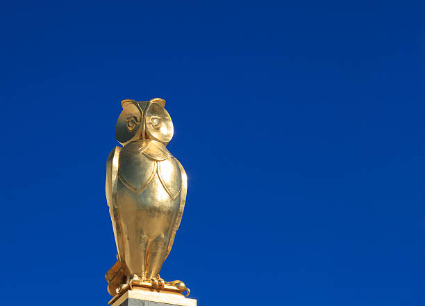 Golden Owl, symbol of Leeds stock photo