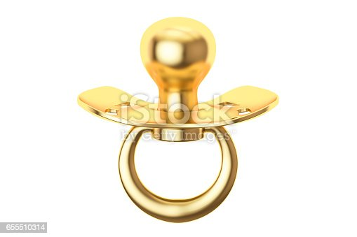 istock golden pacifier, 3D rendering isolated on white background 655510314