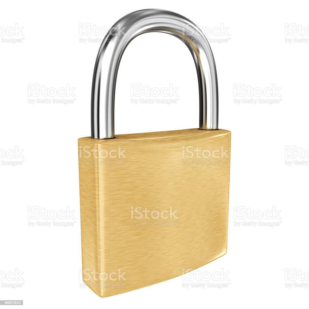 A golden padlock on a white background royalty-free stock photo