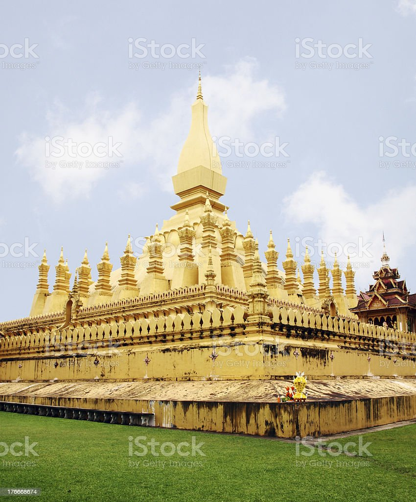 Golden pagada in Pha-That Luang temple, Vientiane, Lao royalty-free stock photo