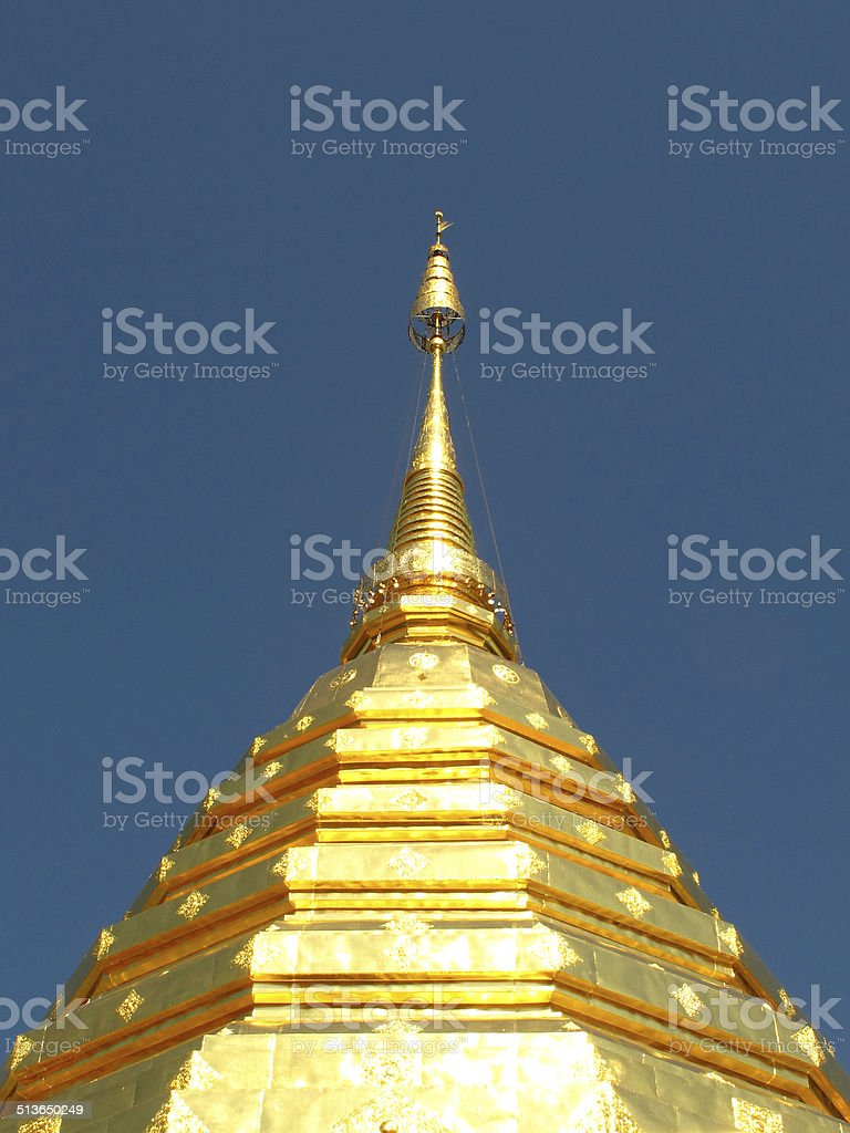 Golden pagoda at Doi Suthep stock photo