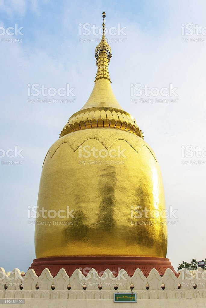 Golden pagoda by the Irrawaddy river, Myanmar royalty-free stock photo