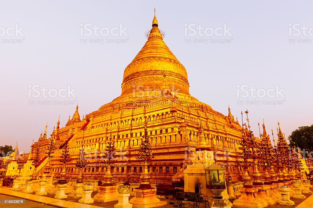 Golden pagoda in Bagan stock photo